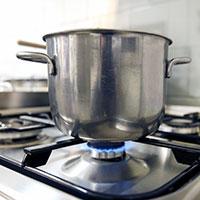 Pot over propane stove